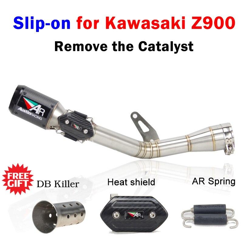 Z900 Slip on moto rcycle выхлопная связь средняя труба удалить катализатор с Остин гоночного побега moto для Kawasaki Z900 ninja 900