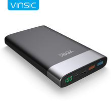 VINSIC Upscale 20000 mAh Power Bank QC3.0 Quick Charging Dual USB Iutput and Type-C Output Mobile Poverbank USB Battery Charger