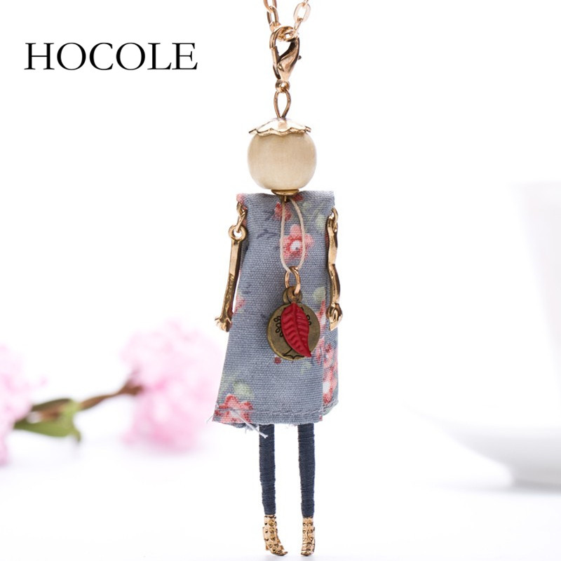 HOCOLE Princess French Doll Dress Necklace Statement Cloth Long Chain Pendant Spring Summer Jewelry for Women Girls Accessories