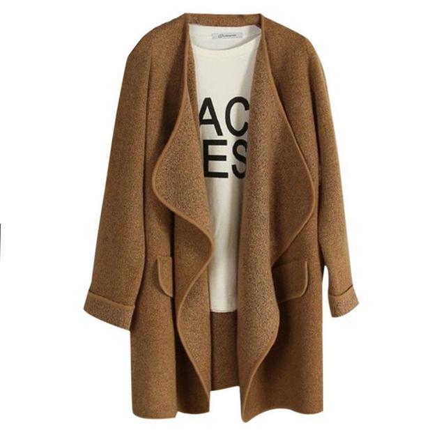 Novas Mulheres Inverno Malha de Cashmere Cardigan Sweater Longo Sólidos Assimetria Magro Manga Comprida Solta Quente Knit Cardigan Feminino