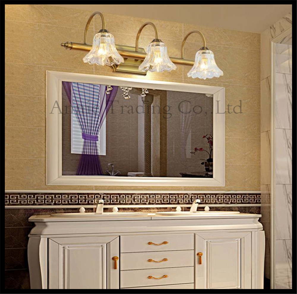 New Chinese Style Bathroom Mirror Lamp Industrial Bronze Clear Glass Lampshade Cabinet Wall Toilets Hotel Vanity