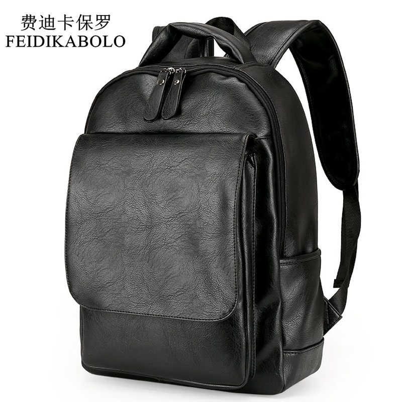 Leather Men Backpack For Man 2017 Backpacks Black Backpacks Male Fashion Rucksack Schoolbags Black Backpack Business Laptop Bags