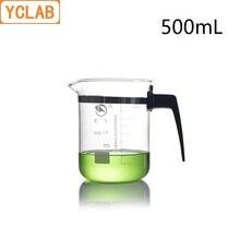 YCLAB 500 мл стакан низкий форма GG-17 Стекло с Выпускной Пластик ручка носик мерный стакан лаборатория химии оборудования