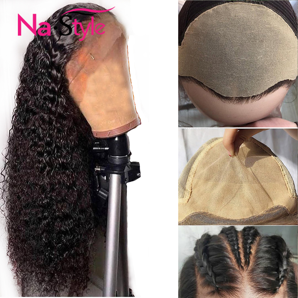 Fake Scalp Wig Curly Human Hair Wig Deep Part 13x6 Lace Front Invisible Lace Wig Bleached Knots Brazilian Remy Wigs Full End(China)