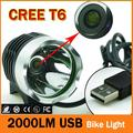 2000 Lumen Waterpoof Bike Light CREE XM-L T6 Bicycle Headlight Headlamp For Bike Cycling Bicycle 3 Mode Front Light & USB
