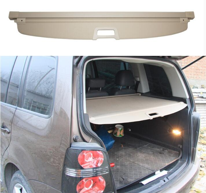 JIOYNG Car Rear Trunk Security Shield Shade Cargo Cover For Volkswagen VW Touran 2006-2015 /2016-2017 2018 (Black beige) car rear trunk security shield shade cargo cover for nissan qashqai 2008 2009 2010 2011 2012 2013 black beige