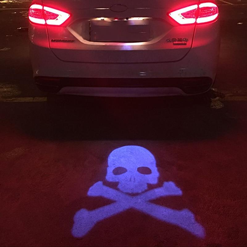SUNKIA 12V 24V Car Warning Laser Tail Logo Rear Fog Light Car Styling Auto Brake Parking Rearing License Lamp STOP SKULL Design in Signal Lamp from Automobiles Motorcycles