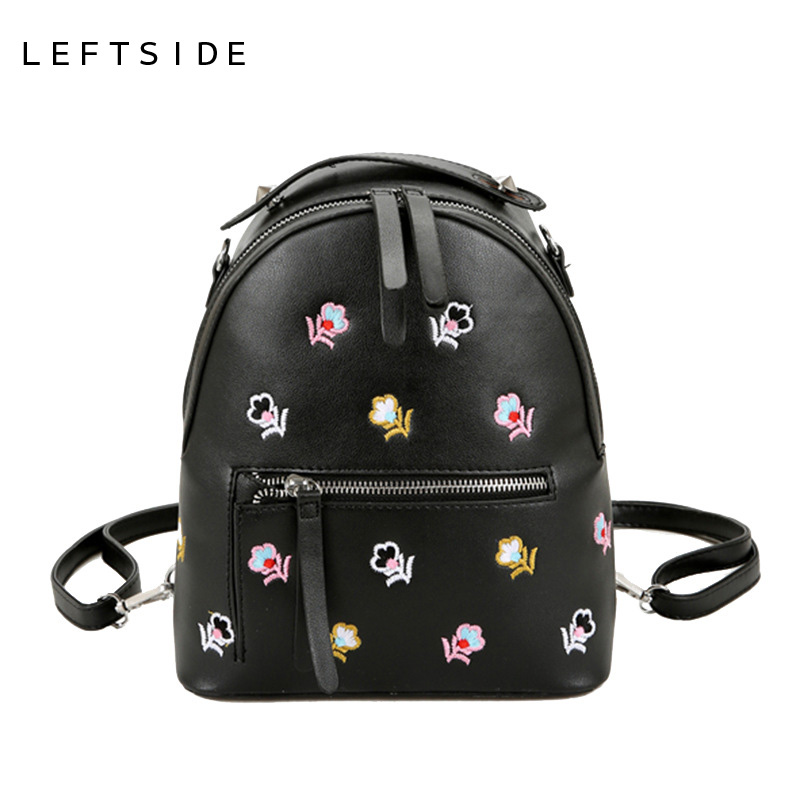 LEFTSIDE Back Pack Embroided Bags Women Bag Embroidery PU Leather Backpack For School Teens Girls Bags