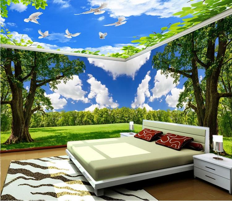 3D Dinding Mural Pemandangan Alam, Wallpaper Kustom Sesuai
