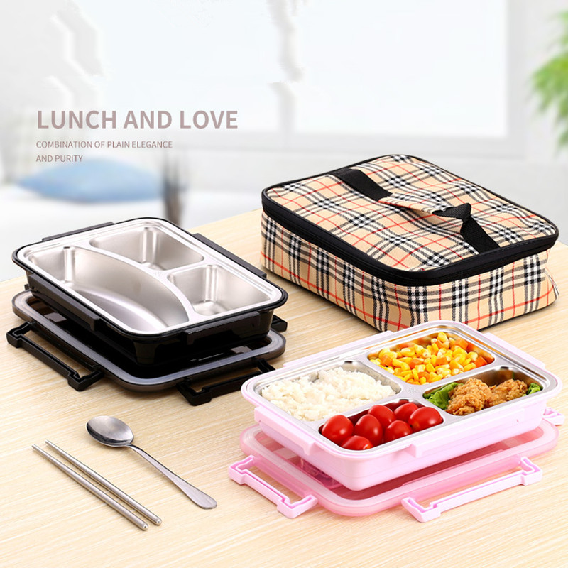 New Kids 304 stainless steel sealed lunch box with insulation bag Student portable food container school picnic office lunchbox