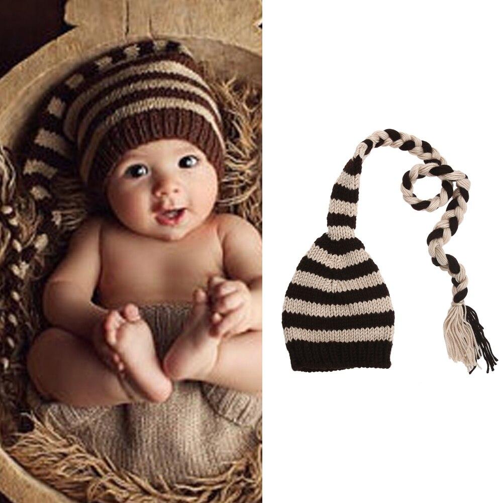 Bébé Accessoires Photo Nouveau-Né Infantile D hiver Coton Laine Crochet  Tricot rayé Chapeau Beanie Fête D anniversaire Photographie Prop 0 à 4 mois fe0ea2409ca