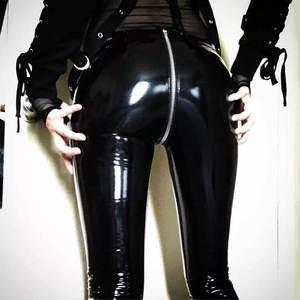 NORMOV Leggings Rubber-Pants Push-Up Faux-Leather Back-Zipper Black Sexy Shiny Women