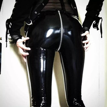 NORMOV Frauen Sexy Shiny PU leder Leggings mit Zurück Zipper Push Up Faux Leder Hosen Latex Gummi Hosen Jeggings Schwarz rot