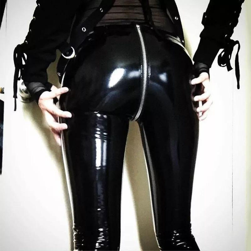 Women Sexy Shiny PU leather Leggings with Back Zipper Push Up Faux Leather Pants Latex