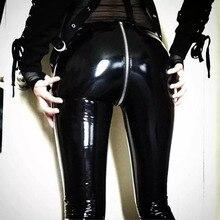 NORMOV נשים סקסי מבריק עור מפוצל חותלות עם חזרה רוכסן לדחוף למעלה פו עור מכנסיים לטקס גומי מכנסיים Jeggings שחור אדום
