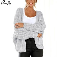 PEONFLY Long Cardigan Women Long Sleeve Knitted Sweater Cardigans Autumn Winter Womens Sweaters Jersey Mujer Invierno