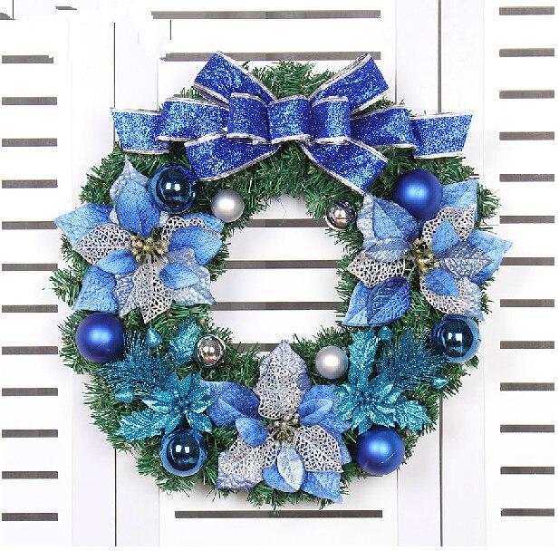 2017 Nueva 50 Cm Cebolla Azul Nudo Mariposa Corona De Navidad Para - Coronas-de-navidad-para-puertas