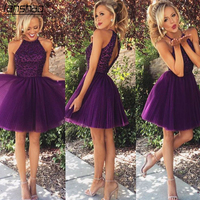Purple Cocktail Dresses A line Hater Tulle Crumple Pears Backless Short Party Plus Size Homecoming Dresses