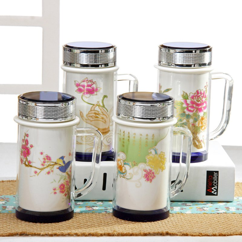 Traditional Chinese Glass Porcelain Thermos Retro Ceramic Termos Classic Thermocup Vacuum Flask Office Cup Tea Cup
