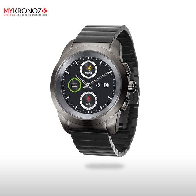 Смарт часы MyKronoz гибридные ZeTime Elite Petite блочный металлический ремешок цвет титан