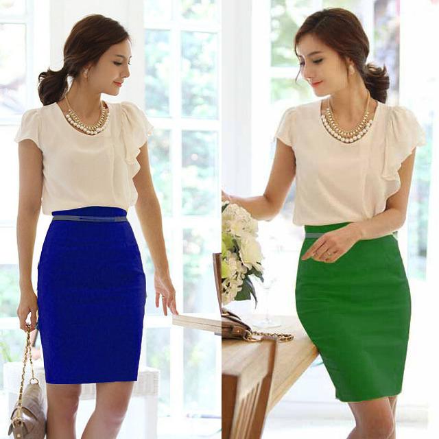 Pencil Skirt  Women Plus Size High Waist Slim Hips Candy Color Formal Saias Feminino Lady Classic Knee Length Office Skirts