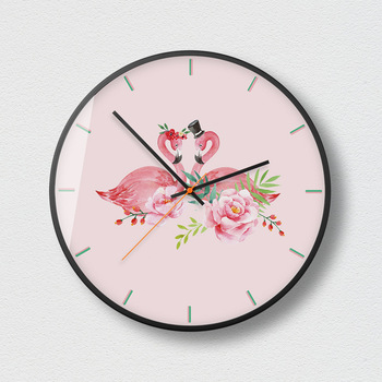 Pink Rose Wall Clock Modern Mute Creative Watches Stickers Table Simple Fashion Trend Living Room Wall Clocks