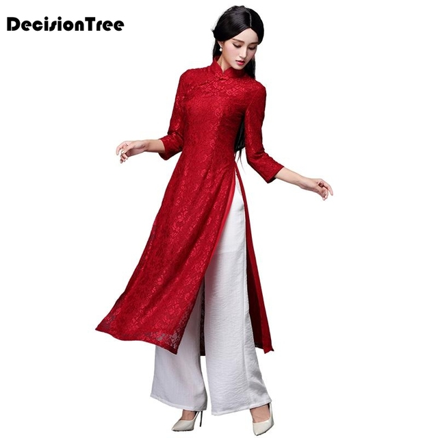 2019 new aodai vietnam cheongsam dress for women traditional clothing floral ao dai dress