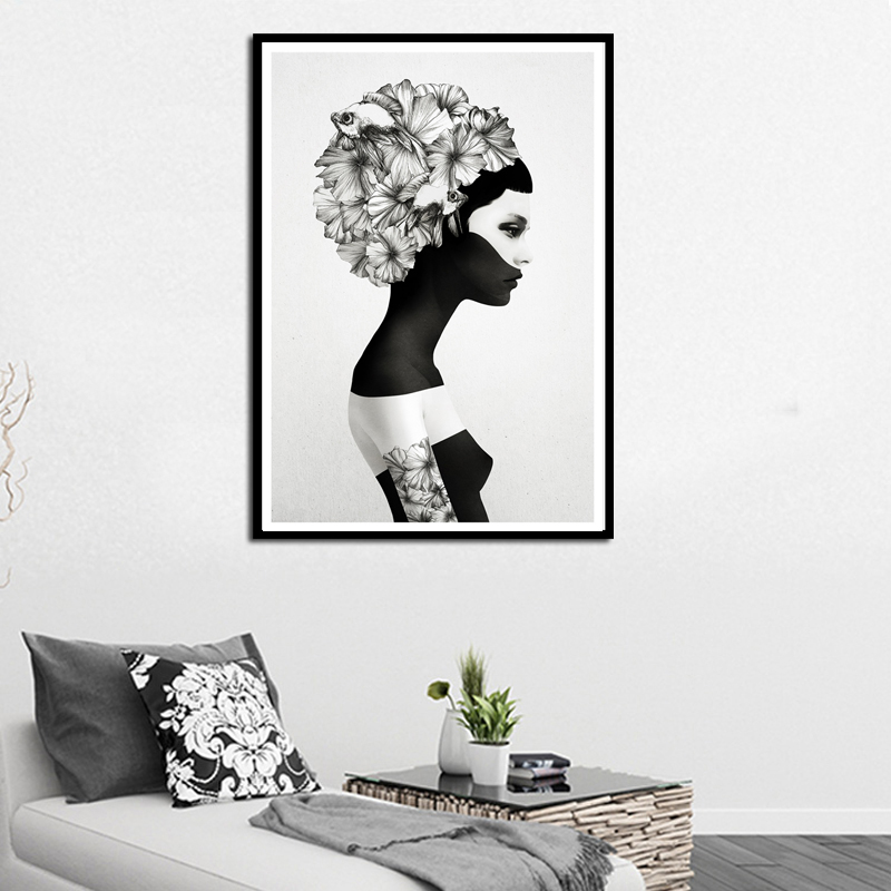 Nordic Decoration Flower Poster and Prints Girl Canvas Painting Black White Marianna Wall Art Ննջասենյակի տնային դեկորի համար