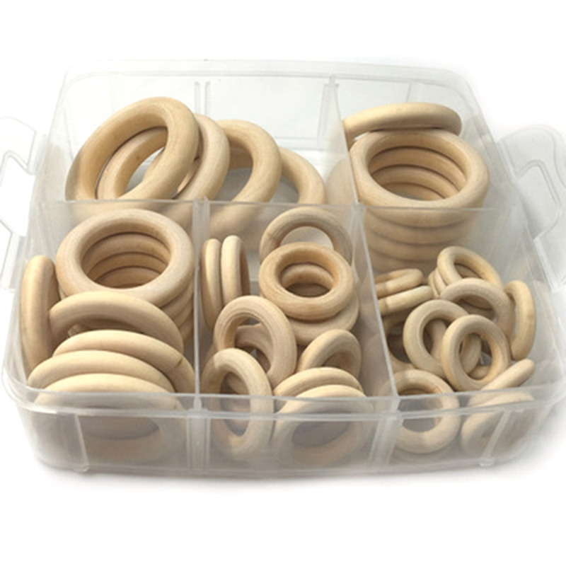 Wood Rings 54pc Natural Maple Wooden Teething For Baby Necklace Bracelets Play Gym DIY Crafts Baby Teether