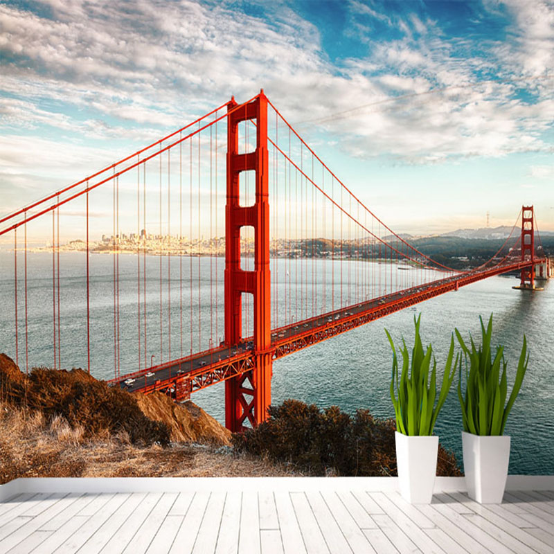 Custom Mural Wallpaper For Wall 3D Embossed Landscape Modern Architecture Red Bridge Seascape Photo Wall Paper For Living Room modern natural 3d mural wallpaper out of the woods landscape photo prints on embossed wall paper 3d room wallpaper mural rolls