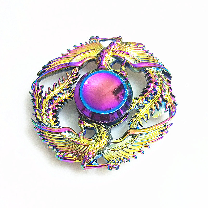 Two Phoenix High Quality Fidget Spinner Metal Rainbow Dragon Hand Finger Spinners Autism ADHD Focus Anxiety Relief Stress