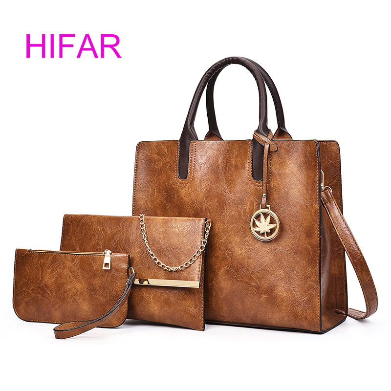 HIFAR Brand Vintage Leather Bag Women Shoulder Bag Ladies Large Capacity Crossbody Bag Female 3 Sets Handbag+Small Purse купить