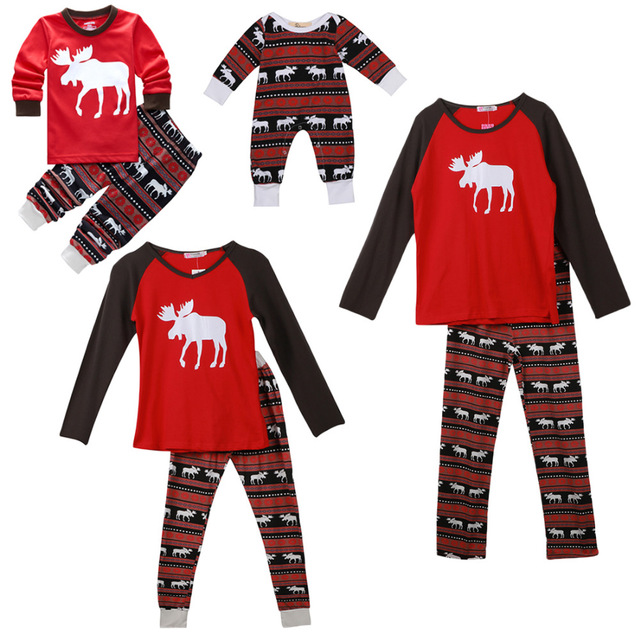 XMAS Moose Christmas Family Pajamas Set Xmas Adult Women Kid Sleepwear Nightwear Red Stripped Photography Prop Clothing Matching
