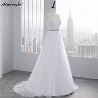 Vestido De Novia 2016 High Fashion A Line Beading Sash Wedding Dresses Backless Lace Appliques Bridal