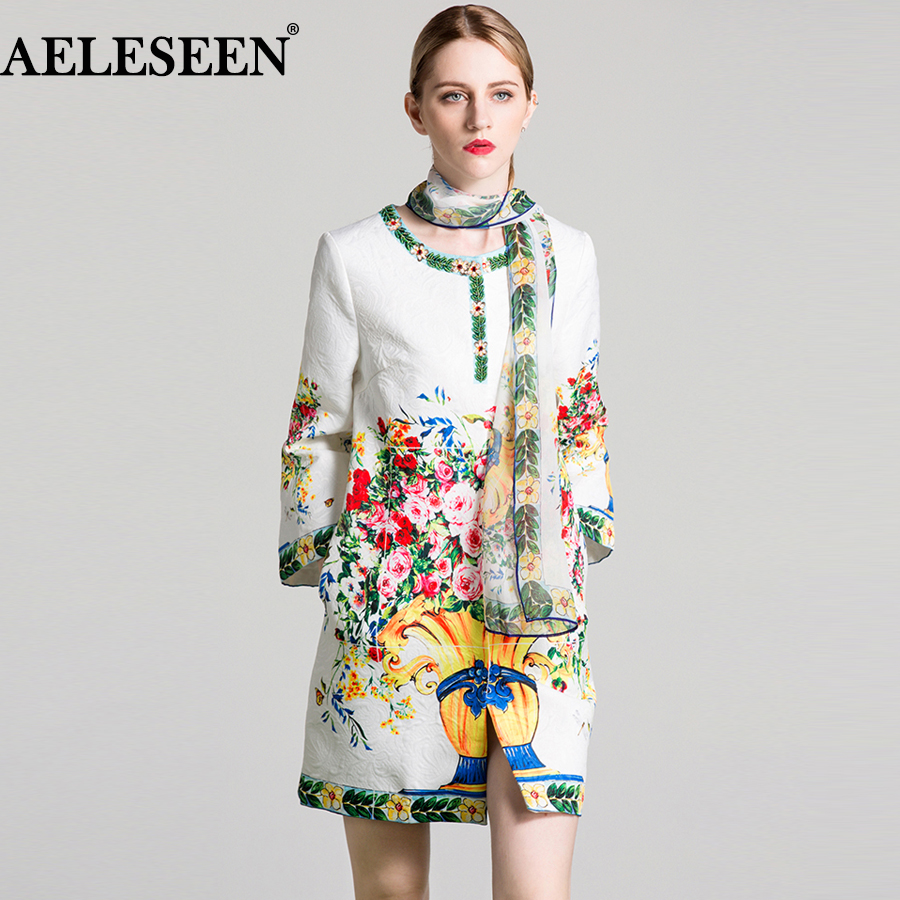 AELESEEN Vintage Floral Print Long Coat 2018 Autumn New Fashion Full Sleeve Beading High Quality Cotton