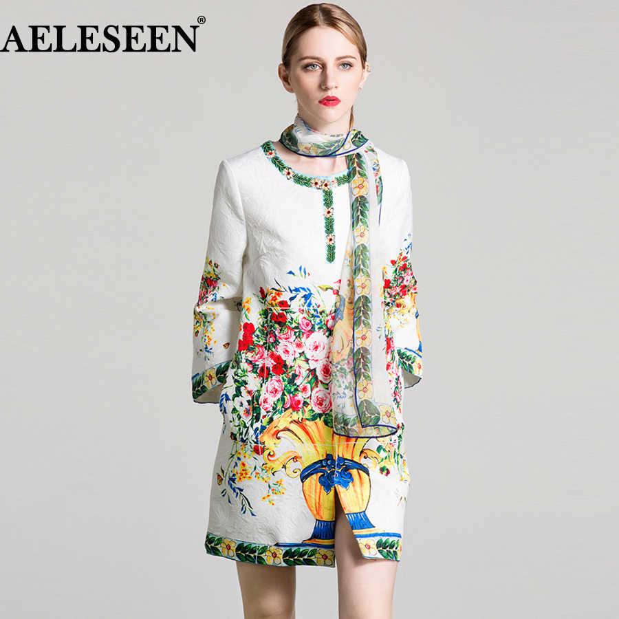 AELESEEN Vintage Floral Print Long Coat 2018 Autumn New Fashion Full Sleeve Beading High Quality Cotton White XXL Coat For Women