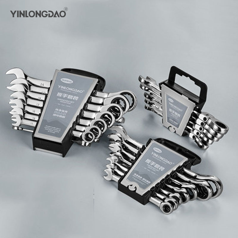 4/5/6/7/8/10/12/14/18 Pcs Quick Ratchet Wrench Two-way Automatic Tool Dual-use Open Plum Wrench Quick Wrench Set Effort