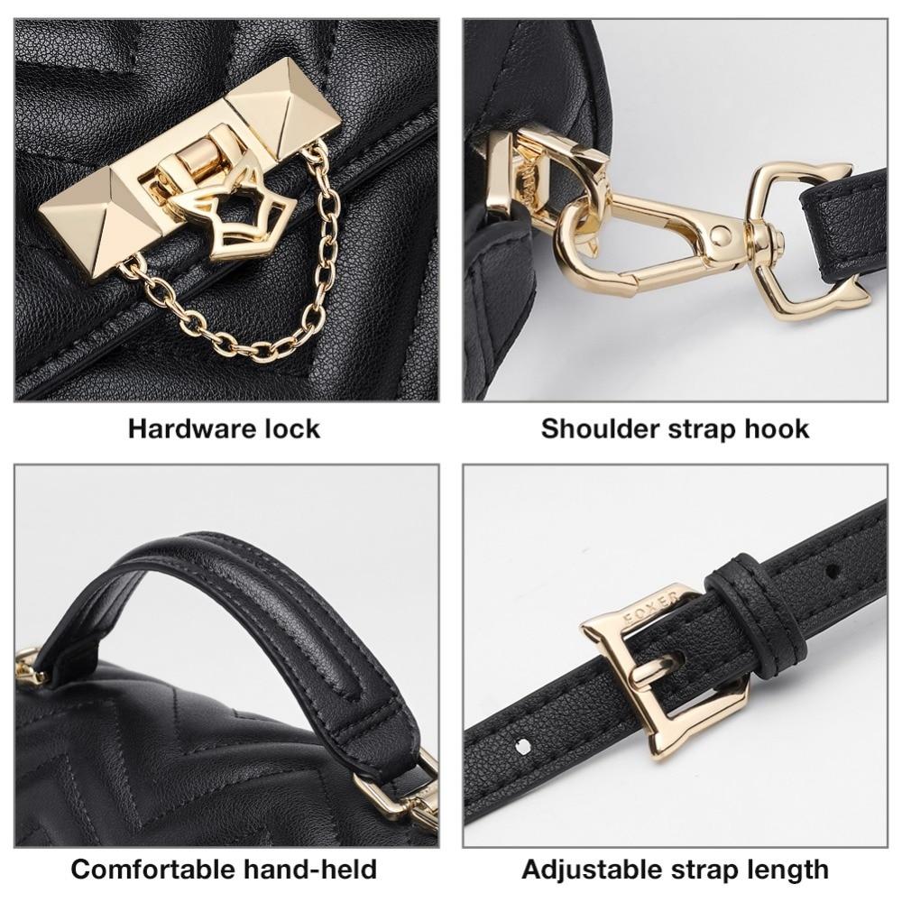 FOXER Brand Elegant Qualities Lady Solid Shoulder Bags Female Fashion Diamond Lattice Split Leather Messenger Bags for Women 5