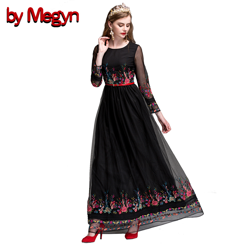 by Megyn Long Dress 2019 Runway Summer Black White Fashion long Sleeve Sash Cultivate Mesh Floral