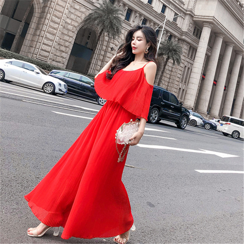 Women Sweet Spaghetti Strap Chiffon   Jumpsuit   Summer New Bohemian Style Open Shoulder Pleated Long loose Wide Leg   Jumpsuits   Red