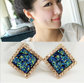 Korean fashion temperament all-match Square Women jewelry blue stud earrings female club fashionista lovely girls accessories