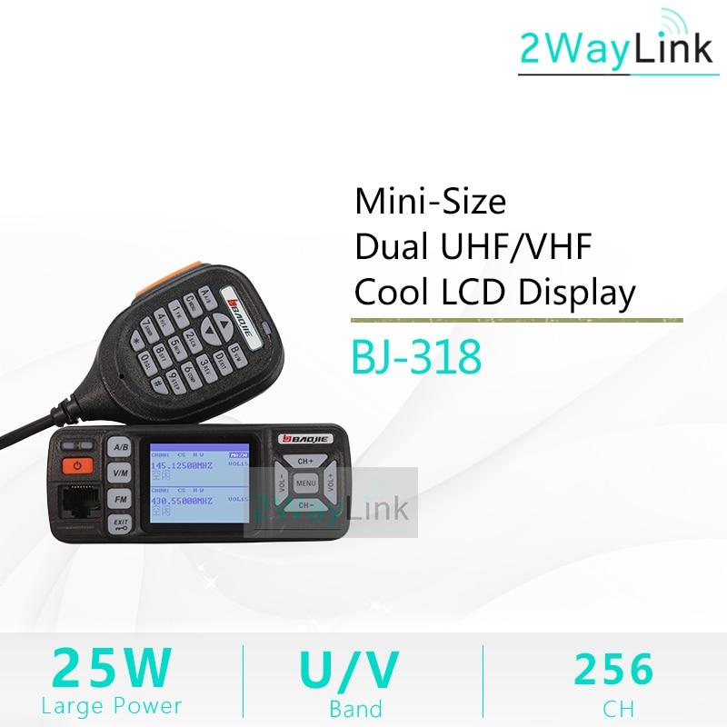 Baojie BJ 318 Car Walkie Talkie Dual Band VHF UHF Mobile Radio 20 25W Walkie Talkie