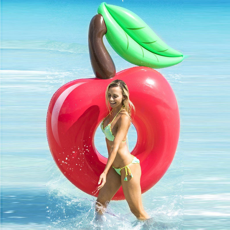 120cm Giant Inflatable Cherry Pool Float Red Beach Lounger Air Mattress Adult Swimming Ring Water Summer Party Toys boia Piscina in Swimming Rings from Sports Entertainment