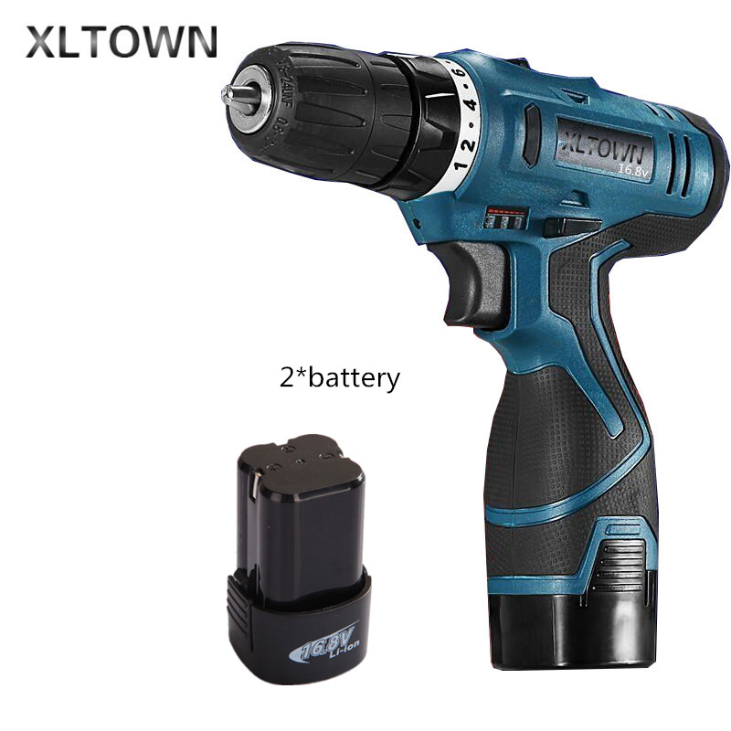Xltown new 16.8v rechargeable lithium battery durable electric screwdriver with 2*battery power tool Strong power screwdriver replacement rechargeable 3 7v 2000mah lithium battery pack with screwdriver for nintendo 3ds