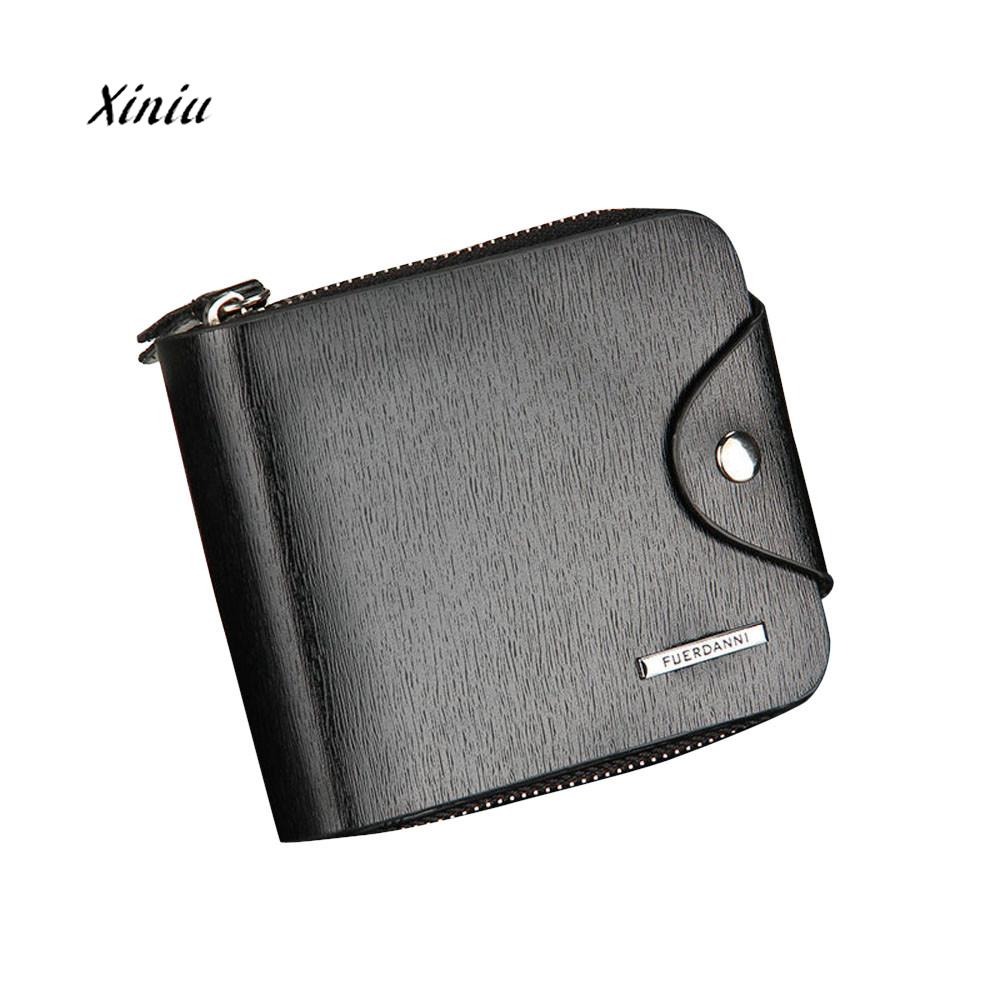 Mens Leather Walet Coin Purse Business ID Card Holder Short Design Billfold Zipper Purse Money Wallet Clutch Handbag Brand New