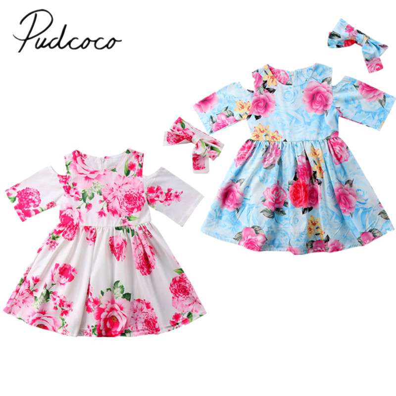 2018 Brand New Toddler Infant Child Kids Baby Girls Off Shoulder Floral Party Pageant Tutu Dress Sundress Headband 2Pcs Clothes baby girl 1st birthday outfits short sleeve infant clothing sets lace romper dress headband shoe toddler tutu set baby s clothes