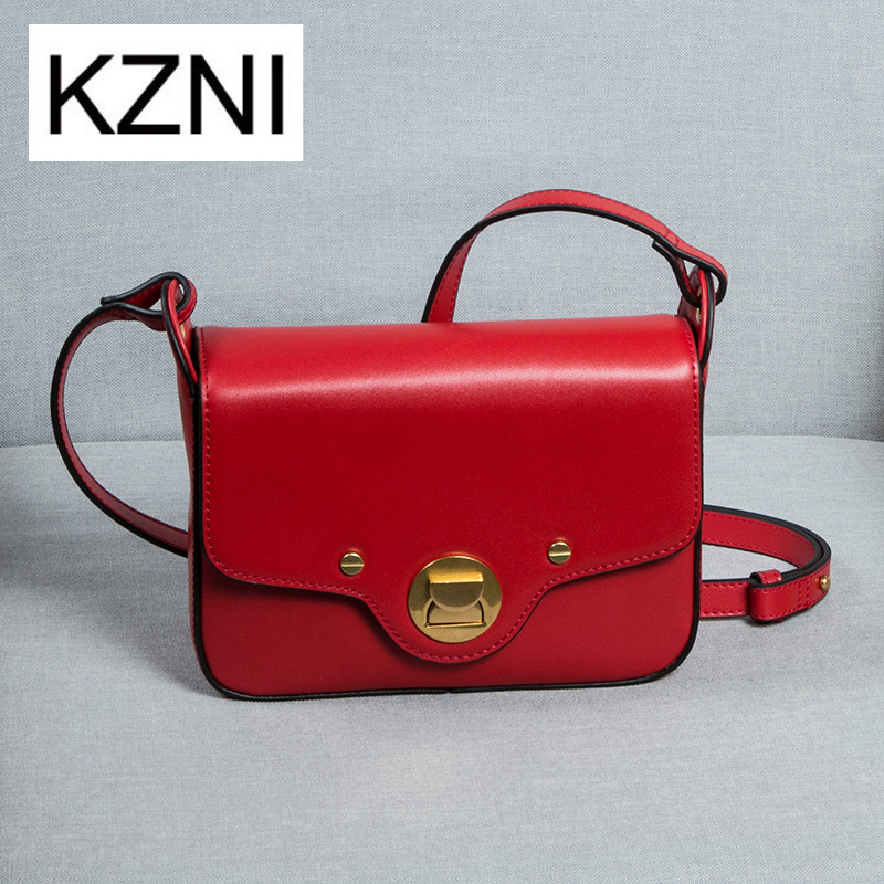 KZNI women genuine leather handbags messenger bag men leather girls bags bolsas femininas bolsas de marcas famosas M031705