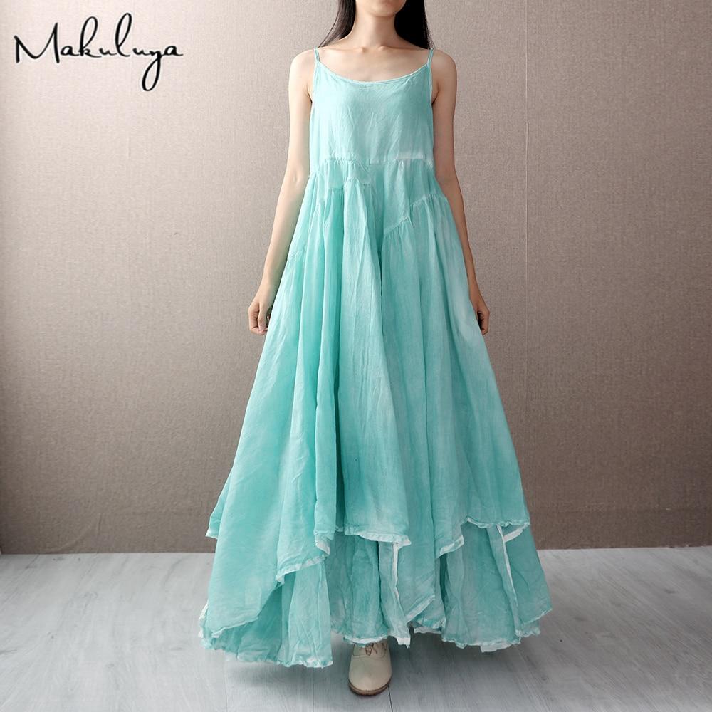 Makuluya Bohemia High Quality Cotton Linen Sleeveless Strap Vest Holiday Beach Long Dress Women Female Summer