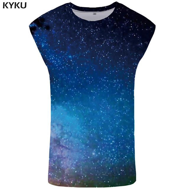 KYKU Brand Galaxy Tank Top Men Light Singlet Gothic Undershirt Trend Vest Space Mens Bodybuilding Ftness Clothing