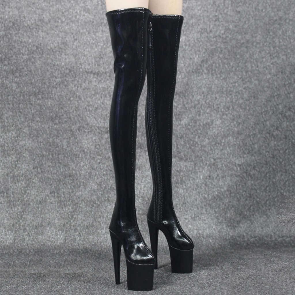 1/6 Женские Сапоги выше колена на высоком каблуке; обувь для 12 дюймов; военные принадлежности